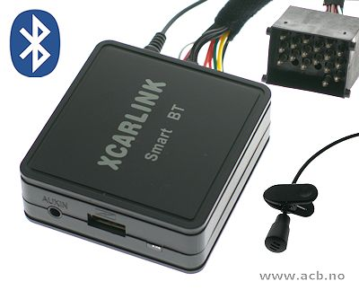 Adapter for å koble til AUX og Bluetooth.  Plugges inn bak på radioen i stedet for cd-skifter. AUX  og Bluetooth streaning. BT handsfree funktion. For MINI 2001 - 2006 radio med 17 runde kontaktpinner på baksiden av radioen (se bildet).